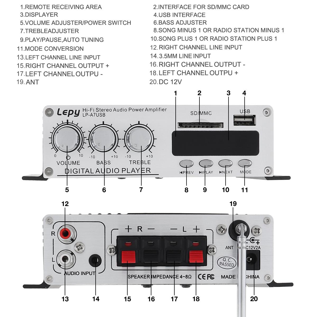 LEPY-Bluetooth-Mini-Power-Audio-Amplifier-Hi-Fi-AMP-MP3-FM-USB-SD-AUX-Car-Home thumbnail 2