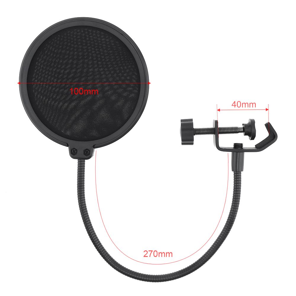 Double-Layer-Studio-Microphone-Mic-Wind-Screen-Mask-Gooseneck-Shield-Pop-Filter thumbnail 2