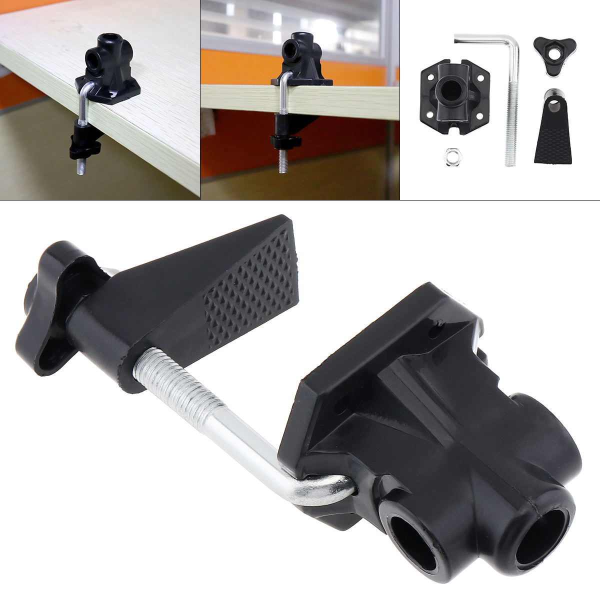 Rotating Clip Slider Clamp Holder Mic Stand Bracket Clamp Bracket Pole Fixing Bracket with Clamp Practical For Desk Lamp Clip Screw Type DIY Fittings